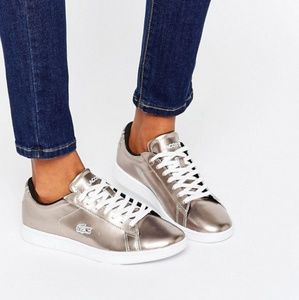 LACOSTE Metallic Rose Gold Sneakers Flats Size 9